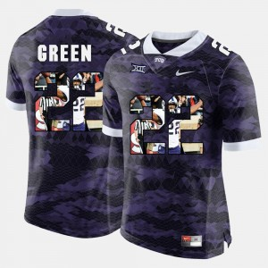 Purple Aaron Green College Jersey Mens High-School Pride Pictorial Limited #22 Horned Frogs