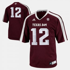 Texas A&M University #12 Youth Burgundy College Jersey Football