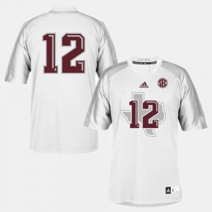 #12 White Texas A&M College Jersey Football Youth(Kids)