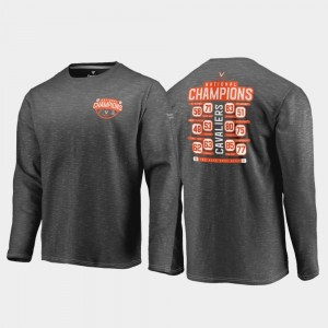 College T-Shirt 2019 NCAA Basketball National Champions Dropstep Trophy Long Sleeve Charcoal 2019 Men's Basketball Champions UVA Cavaliers Mens