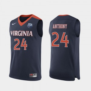 Marco Anthony College Jersey Navy Men Cavaliers #24 2019 Men's Basketball Champions