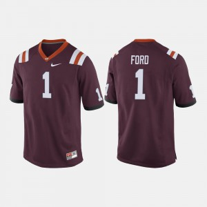 #1 For Men's VT Football Isaiah Ford College Jersey Maroon