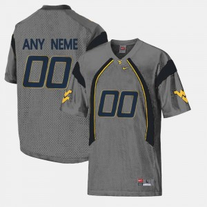For Men #00 West Virginia University Limited Football Gray College Custom Jersey