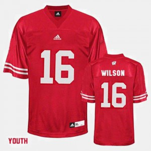 Youth(Kids) UW Russell Wilson College Jersey Football #16 Red