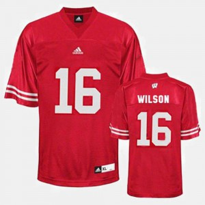 Mens Football #16 Russell Wilson College Jersey Red Wisconsin Badger