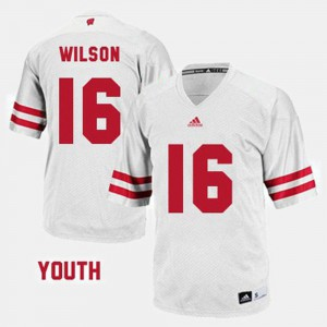 White #16 Youth(Kids) Russell Wilson College Jersey Football Wisconsin Badger