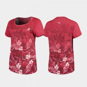 Tommy Bahama Crimson Womens Floral Victory College T-Shirt Bama