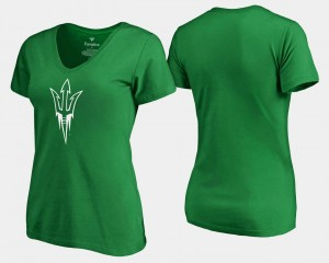 Kelly Green White Logo For Women's St. Patrick's Day Arizona State College T-Shirt