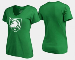College T-Shirt Army White Logo St. Patrick's Day Womens Kelly Green