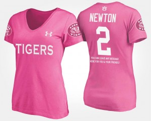 With Message AU #2 For Women's Cam Newton College T-Shirt Pink