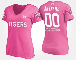 Ladies Pink With Message #00 College Customized T-Shirt Auburn