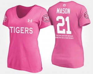 AU Pink With Message #21 Tre Mason College T-Shirt For Women