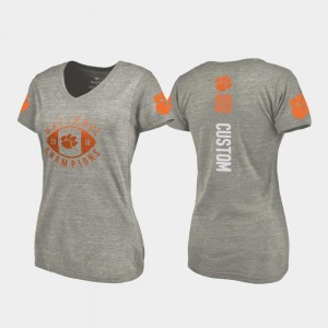 Football Playoff V-Neck For Women's 2018 National Champions College Customized T-Shirts #00 Gray Clemson National Championship