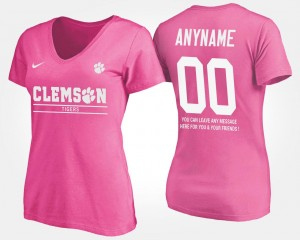 #00 With Message Pink Clemson Tigers College Customized T-Shirts Women
