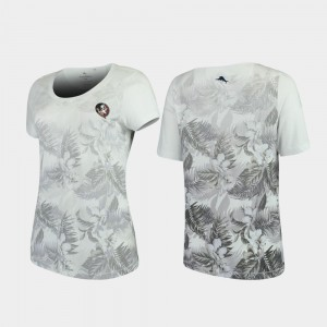 For Women's Tommy Bahama White Seminoles College T-Shirt Floral Victory