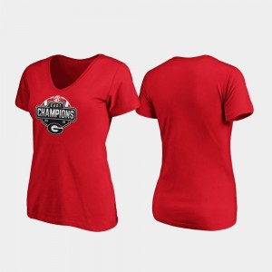 2019 SEC East Football Division Champions Red College T-Shirt V-Neck Women Georgia