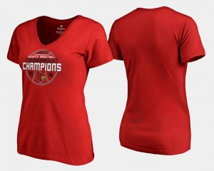 Red V-Neck 2018 ACC Champions College T-Shirt Basketball Conference Tournament UofL For Women's
