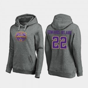 Clyde Edwards-Helaire College Hoodie LSU Tigers 2019 National Champions Heather Gray Football Playoff Visor #22 Womens