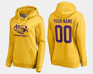 #00 LSU For Women's Basketball - Gold College Customized Hoodies