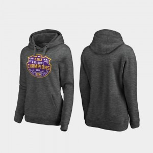 Heather Gray Ladies Football Playoff Encroachment College Hoodie LSU Tigers 2019 National Champions