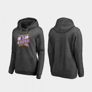 For Women's LSU College Hoodie 2019 National Champions Football Playoff Facemask Heather Gray