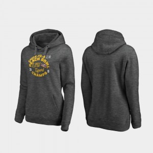 Heather Gray Football Playoff Curl For Women's 2019 Peach Bowl Champions LSU College Hoodie