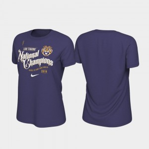 For Women's Purple College T-Shirt Tigers 2019 National Champions Celebration Football Playoff