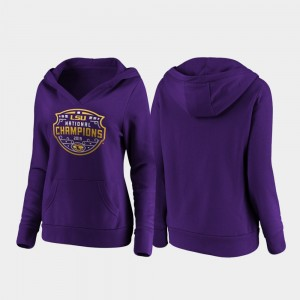 College Hoodie Purple LSU Tigers Football Playoff Official Logo For Women's 2019 National Champions