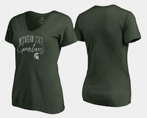 Green V-Neck Michigan State Spartans College T-Shirt Women's Graceful