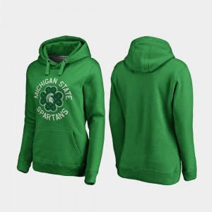 Ladies College Hoodie Luck Tradition St. Patrick's Day Kelly Green Michigan State Spartans