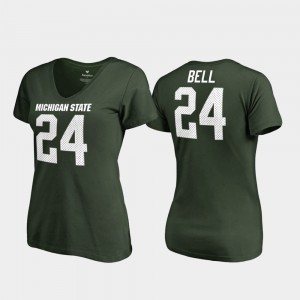 Green #24 Women's Le'Veon Bell College T-Shirt Michigan State Legends V-Neck