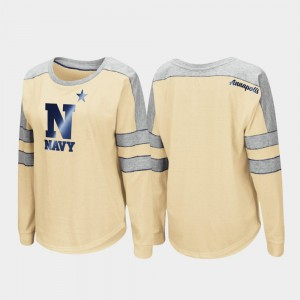 For Women Trey Dolman Long Sleeve College T-Shirt Gold United States Naval Academy