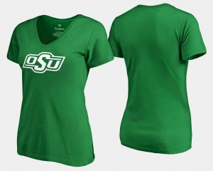 College T-Shirt White Logo St. Patrick's Day Womens Kelly Green Oklahoma State Cowboys