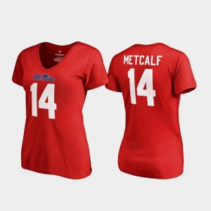 Legends Red DK Metcalf College T-Shirt For Women's V-Neck Name & Number Ole Miss #14