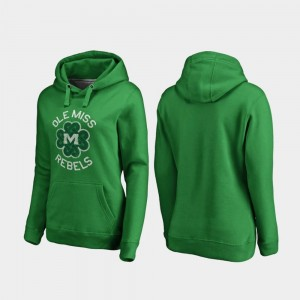 College Hoodie St. Patrick's Day Ole Miss Rebels Luck Tradition Women Kelly Green
