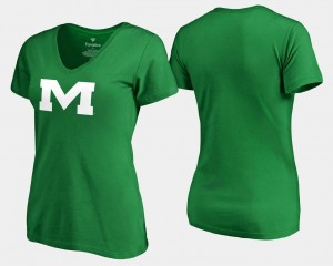 Kelly Green St. Patrick's Day Rebels White Logo College T-Shirt For Women's
