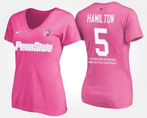 With Message Women's #5 DaeSean Hamilton College T-Shirt Pink Penn State