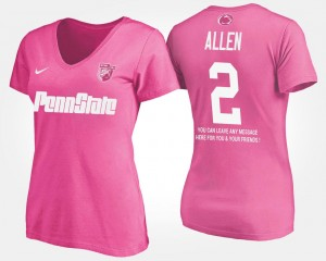 Pink Penn State Nittany Lions With Message Marcus Allen College T-Shirt For Women's #2