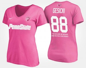 Pink With Message #88 Mike Gesicki College T-Shirt For Women's Penn State Nittany Lions