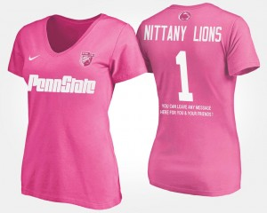 For Women's College T-Shirt No.1 Short Sleeve With Message #1 Penn State Pink