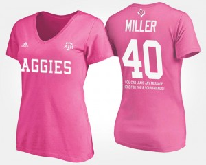 Pink With Message Von Miller College T-Shirt A&M For Women's #40