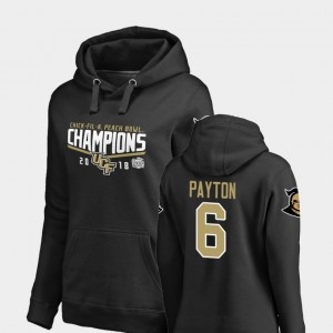 Tristan Payton College Hoodie For Women UCF Knights Black 2018 Peach Bowl Champions Goal #6