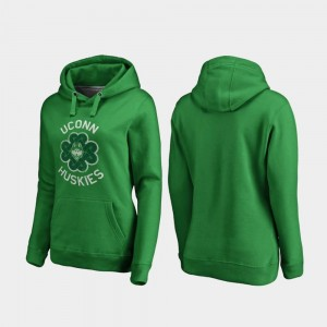 St. Patrick's Day For Women Connecticut Huskies College Hoodie Luck Tradition Kelly Green
