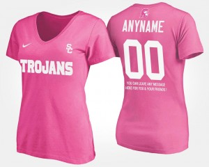 Women Pink USC #00 College Custom T-Shirt With Message