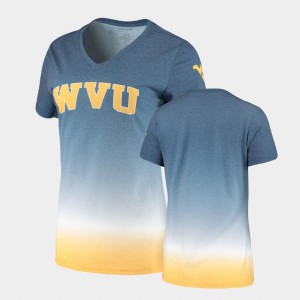 V-Neck College T-Shirt Ladies Navy Ombre WV