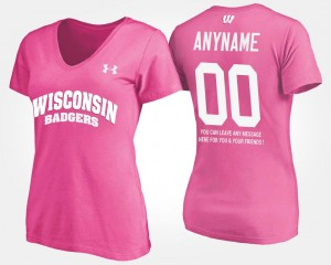 College Customized T-Shirts Pink Womens #00 With Message Badgers