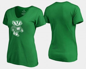 White Logo Kelly Green St. Patrick's Day Ladies Badger College T-Shirt