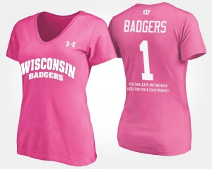 Pink College T-Shirt Wisconsin Badger Women #1 No.1 Short Sleeve With Message