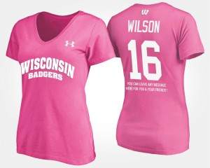 Pink #16 Ladies With Message Russell Wilson College T-Shirt University of Wisconsin