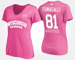 With Message For Women's Troy Fumagalli College T-Shirt #81 Pink Wisconsin Badger